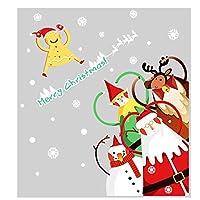 DIYクリスマス子鹿雪だるまサンタステッカーショップウィンドウガラスの装飾ホームフェスティバルデカールのメリークリスマスデコレーション