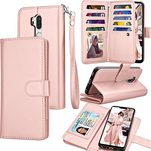 Tekcoo Wallet Case for LG G7 / LG G7 ThinQ, PU Leather Luxury ID Cash Credit Card Slots Holder Purse Carrying Folio Flip Cover [Detachable Magnetic Hard Case] Kickstand - Rose Gold