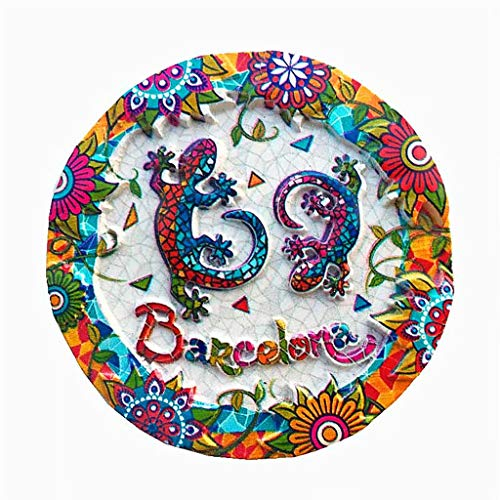 Lagarto de mosaico en Barcelona España imán de nevera 3D artesanía recuerdo resina imanes de nevera colección regalo de viaje