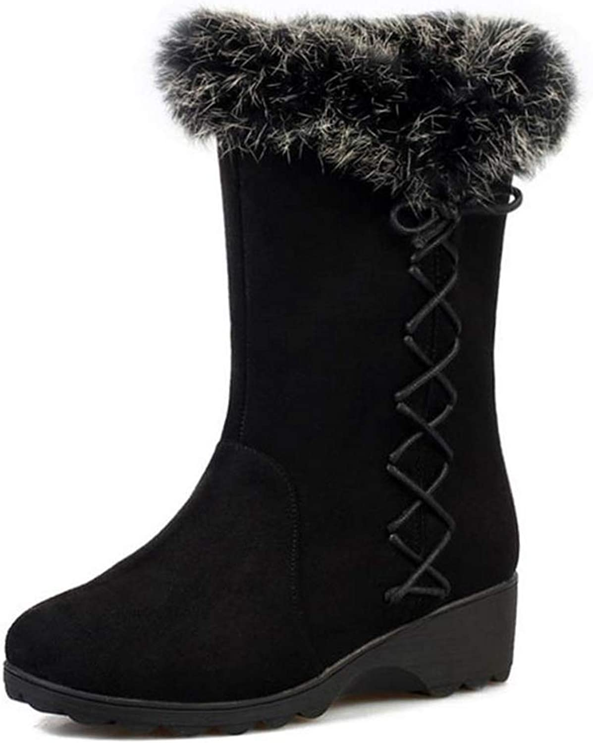 FAY WATERS Womens Sweet Warm Short Boots Thick Fur Chunky Mid Heel Round Toe Cross Strap Winter Snow Mid Calf Booties