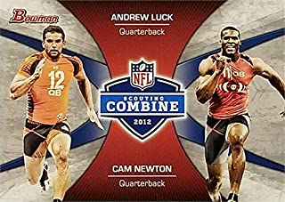 Cam Newton & Andrew Luck football card (Auburn, Stanford) 2012 Draft Scouting Combine Rookie #CCLN