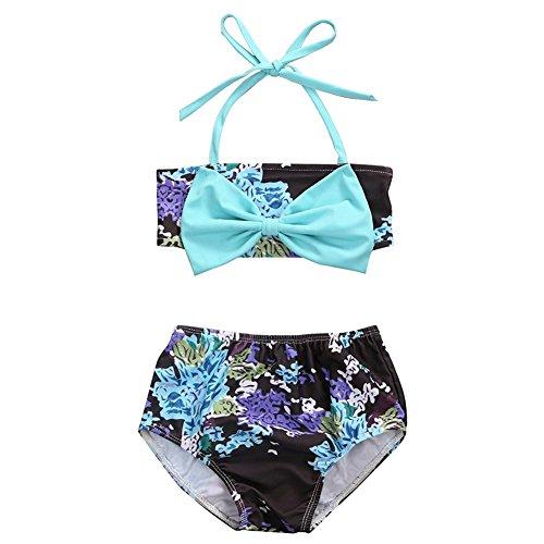 GRNSHTS Infant Baby Girls Floral Bowknot Halter Bikini Set (90/12-18 Months, Blue Bowknot) …