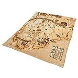 Elbenwald Herr der Ringe Flauschdecke Mittelerde Karte XXL-Format 180 x 220 cm beige -