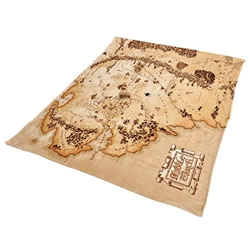 Elbenwald Herr der Ringe Flauschdecke mit Mittelerde Karte Motiv im XXL-Format 180 x 220 cm beige