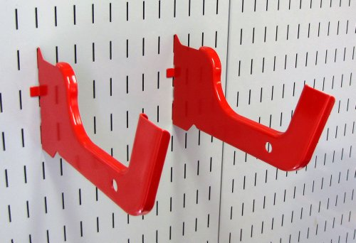 Wall Control Heavy Duty Pegboard Hook Slotted Hook Pair - Slotted Metal Pegboard Heavy-Duty Hooks for Wall Control Pegboard and Slotted Tool Board � Red
