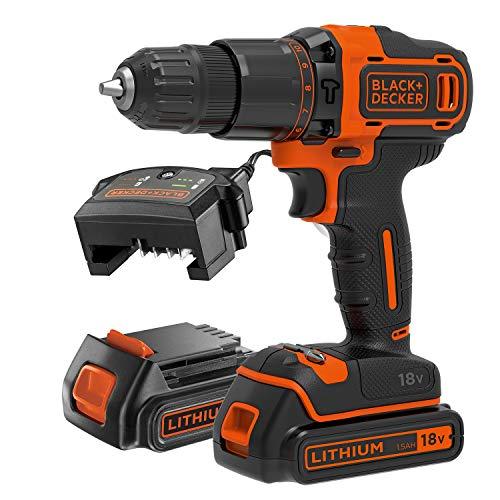 BLACK+DECKER BCD700S2K-GB Cordless Combi Drill, 18 V, Orange
