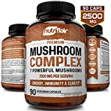 NutriFlair Mushroom Supplement 2500mg - 90 Capsules - 7 Organic Mushrooms - Reishi, Lions Mane, Cordyceps,...