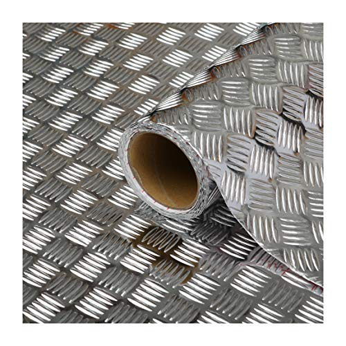 d-c-fix Sticky Back Plastic (self adhesive vinyl film) Metallic Chequered Plate High Gloss Silver 45cm x 1.5m 340-0060