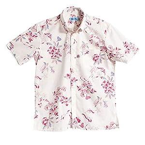 [MAJUN (マジュン)] 国産シャツ かりゆしウェア アロハシャツ 結婚式 メンズ 半袖シャツ ボタンダウン ダイビングマリン ホワイト×レッド M