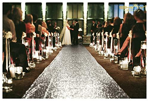 ShinyBeauty Aisle Runner Tape-Silver-4FTX15FT,Shimmer Sequin Fabric Wedding Floor Runner,Glitter Carpert Runner