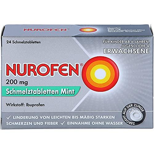 NUROFEN 200 mg Schmelztabletten Mint bei Schmerzen und Fieber, 24 St. Tabletten
