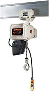 Harrington NERP010L-FG-20 Series NER-FGP Three Phase Food Grade Electrical Hook Mount Single Speed Chain Hoist with Push Trolley, 1 Tons Capacity, 20' Lift