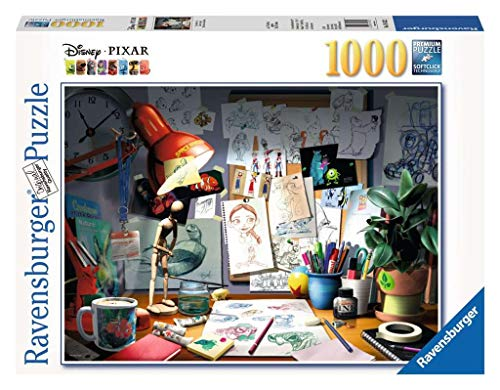 Ravensburger Disney Pixar - The Artist's Desk Puzzle 1000 Piece Jigsaw Puzzle for Adults - Every piece is unique, Softclick technology Means Pieces Fit Together Perfectly, Model Number: 19432