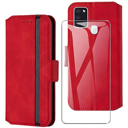 HHUIWIND Hülle für Samsung Galaxy A21s Leder + Panzerglas,Handyhülle Samsung Galaxy A21s,Schutzhülle Handytasche Klapphülle Streifen Hülle mit Kartenfächer für Samsung Galaxy A21s-Rot01