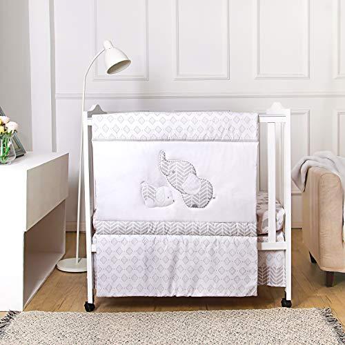 La Premura Baby Elephants Nursery Mini / Portable Crib Bedding Sets – Elephants & Puppy 3 Piece Grey Crib Set - Unisex Nursey Bedding and Neutral Decor