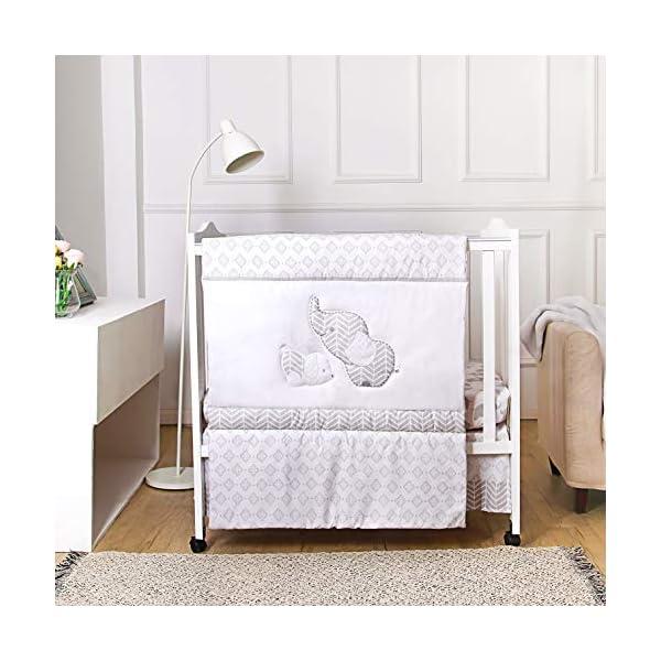 La Premura Baby Elephants Nursery Crib Bedding Sets – 3 Piece Standard Size Grey Crib Set – Nursey Bedding and Neutral Decor