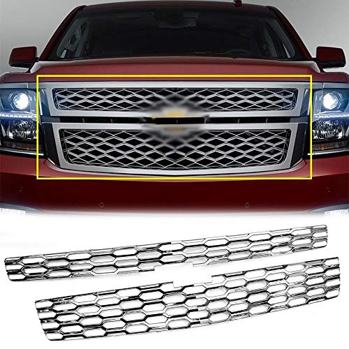 Overun Sure-Fit snap on Style Chrome Front Grille Overlay Inserts Trim Designed for 2015-2020 Chevrolet Tahoe LS<