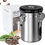Boîte à café hermétique en acier inoxydable - Pour grains de café, poudre, thé, noix de cacao - Avec suivi de la date - Valve de libération de CO2 et cuillère doseuse (argenté, grand)
