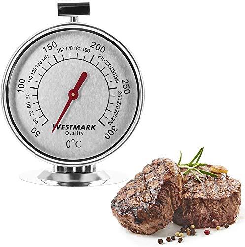 Westmark Ofenthermometer, Messbereich: +50°C bis +300°C/ +122°F bis +572°F, Rostfreier Edelstahl, Silber/Rot, 12902260