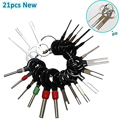 Adduswin 21pcs T0025E Auto Terminals Removal Key Tool Car Pin Extractor Electrical Wiring Crimp Connectors Key Extractor Connector Depinning Tool Set