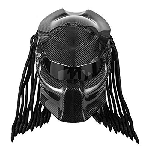 JEANN-MThelmet Casque Moto Predator Casque intégral Iron Warrior en Fibre de Carbone pour Hommes, Casque intégral modulaire certifié pour la sécurité du Dot (Rouge, Bleu, Noir),Noir,L