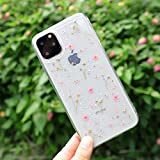 Feibili iPhone 11 Flower Case, Soft Clear Flexible Rubber Pressed Dry Real Flowers Case Girls Glitter Floral Cover for iPhone 11 (Pink)
