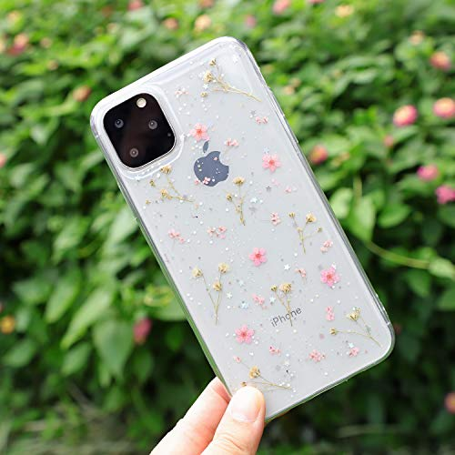 Compatible with iPhone 11 Flower Case, Feibili Soft Clear Flexible Rubber Pressed Dry Real Flowers Case Girls Glitter Floral Cover for iPhone 11 (Pink)
