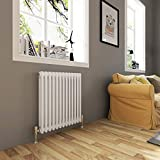 600 x 592 mm Traditional Cast Iron Style Horizontal Radiator with White Double