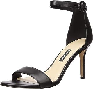 NINE WEST Women's Fashion Sandal Heeled, Black, 8.5 M US