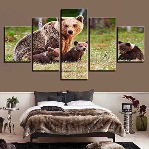 Suwhao Moderne woonkamer decoratieve kunst 5 platen dieren bruine beren muurkunst poster modulair beeld canvas schilderij