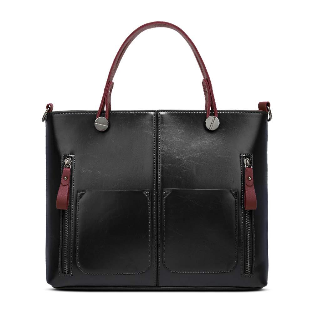 PINGORA 包包 女包 2019 新款真皮女士欧美风格纯色大容量单肩包托特包 大包 (黑色。)