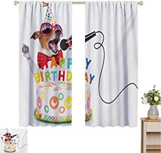 Mozenou Kids Birthday, Room Darkening Wide Curtains, Birthday Musician Singer Dog with Glasses and Party Cake Cones Image Print, Waterproof Window Curtain Multicolor