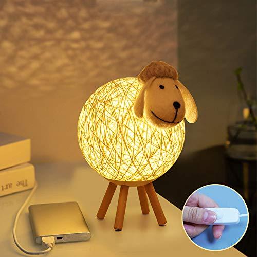 Osairous Luz de Noche LED, Lámpara de Mesa de Ratán de Oveja Creativa, Lámpara de Noche de Proyección USB Para el Cuidado de Los Ojos para La Habitación de Los Niños