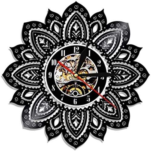 WZCXYX Mandala Arte de Pared Disco de Vinilo Reloj de Pared Vida Lotus Lotus Mandala Yoga Buda decoración geométrica Mural Regalo para Ella-No_Led Obsequio