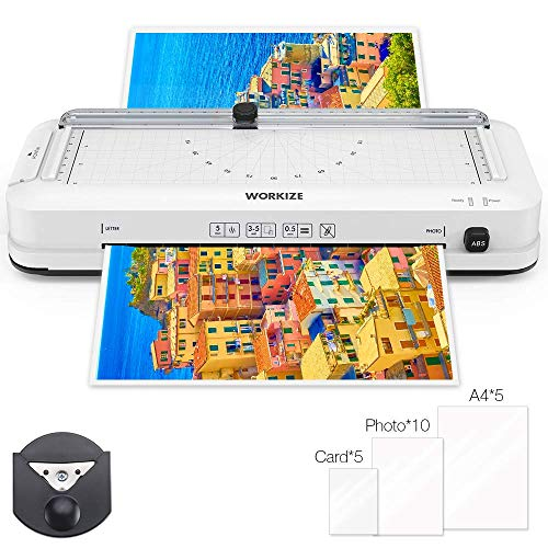 WORKIZE Laminator, Thermal Laminator, Personal 5-in-1 Desktop A4 Laminating Machine Built-in Paper Trimmer Punch and Corner Rounder with Pouches Sheets for Home Office School