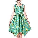 Sunny Fashion Vestito Bambina Verde Fiore Asimmetrico Orlo Gonna Carro Armato 12 Anni