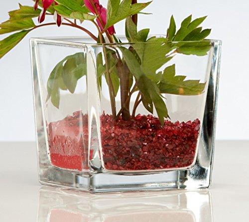 5x Glasvase CUBE Glasvase Teelichtglas Windlicht Vase Glas Würfel, Ø 10 cm