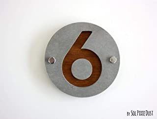 Modern House Numbers, One Number Round Concrete with Dark Oak Marine Plywood - Contemporary Home Address -Sign Plaque - Door Number