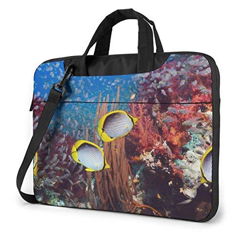 Laptop Shoulder Bag Underwater World Notebook Sleeve Case, Shockproof Carrying Briefcase Sleeve with Organizer Pocket