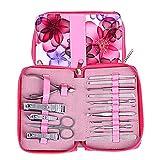 Conjuntos de manicura para mujeres y niñas profesionales con paquete de flor rosa rosa, kit de pedicura de acero inoxidable 16 en 1 para viajes y hogar