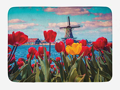 ABAKUHAUS Amsterdam Tappetino da Bagno, Idilliaco Primavera Tulipani, Vasca Doccia WC Tappeto in Peluche con Supporto Antiscivolo, 45 cm x 75 cm, Multicolore
