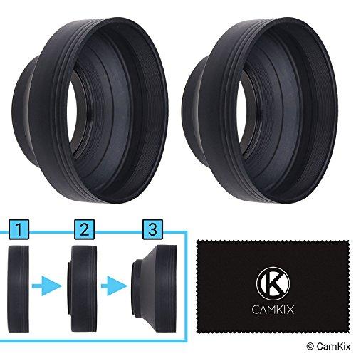 Kamera Objektiv Sonnenblenden - 58mm - Gummi - 2er Set - Zusammenklappbar in 3 Stufen - Sonnenschutz/Schild - Reduziert Objektiv Flare und Blendung