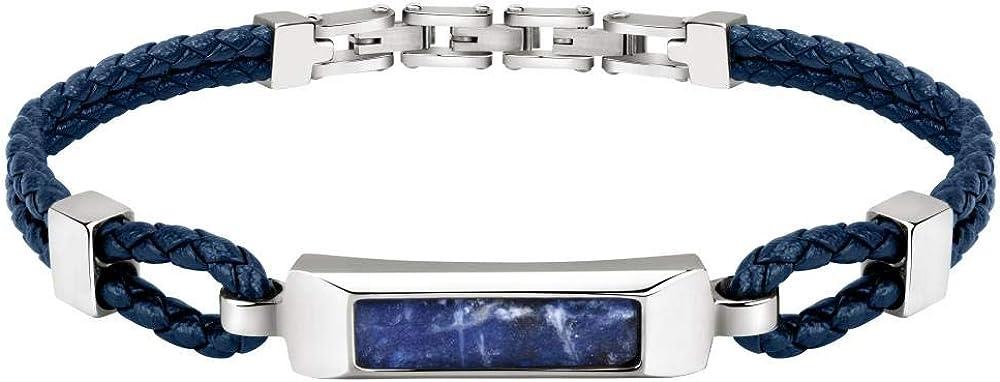 Bracciale da uomo di morellato, della collezione lux,in   acciaio, cuoio blu e  dumortierte di colore azzurro. SASV04