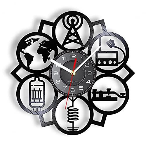 Reloj de Pared de Vinilo, Radio satelital astronómica, inspiración para Discos de Vinilo, Amante del Espacio, decoración del hogar, Reloj Artesanal