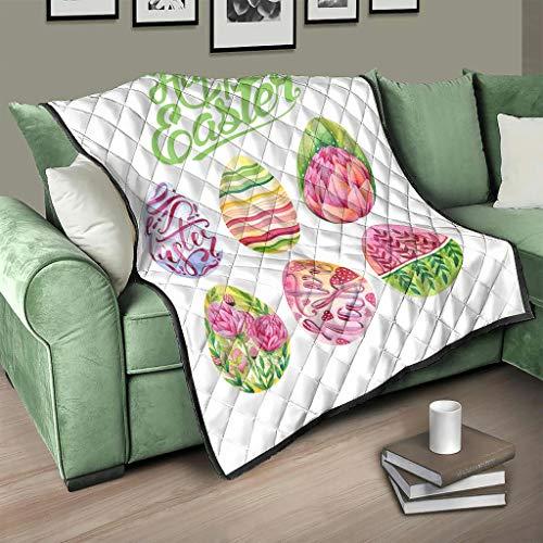 AXGM Colcha multicolor con diseño de huevos de Pascua, manta para el salón, con impresión 3D, para viajes, camping, color blanco, 130 x 150 cm