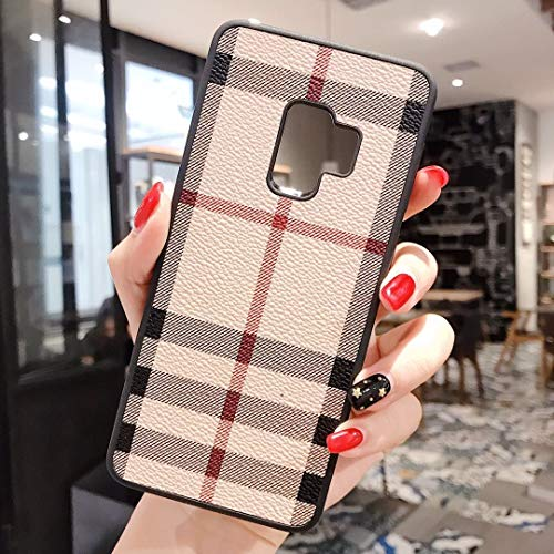 PXMY Galaxy S10 Case, Luxury PU Leather Large Vintage Check Style Shockproof Cover Case for Samsung Galaxy S10 6.1'