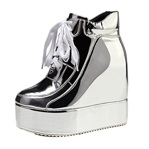 getmorebeauty Womens Silver Chunky High Platform Wedge Heel Lace Up Chelsea Punk Ladies Ankle Boots (US 8, Silver)