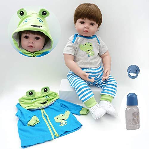 ZIYIUI Bambola Reborn 18 Pollici 45 cm Realistico Bambole Bambino Neonatale Simulazione Morbido Silicone Vinile Toddler Babies Bambola Reborn Maschio Regalo