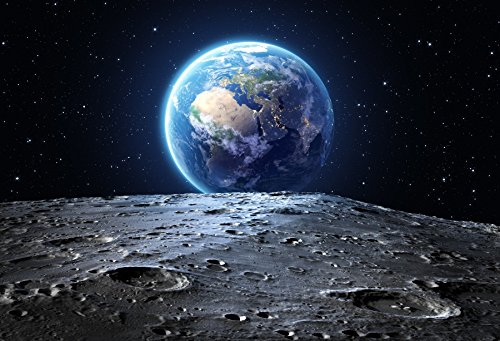 Laeacco Fantasy Planet Earth View Starry Sky from Moon Surface Backdrops 10x65ft Vinyl Photography Background Astronomy Universe Science Spaceman Photo Portraits Artistic Studio Props