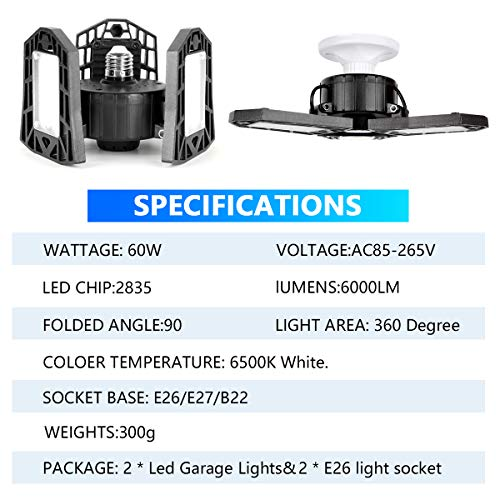 LED Garage Lights 60W Deformable 2 Pack 6000LM Close to Ceiling Light Fixtures E26 E27 Screw in Three Leaf Triple Glow Lighting for Work Shop Warehouse Low Bay New Arrival, No Motion Activated 7